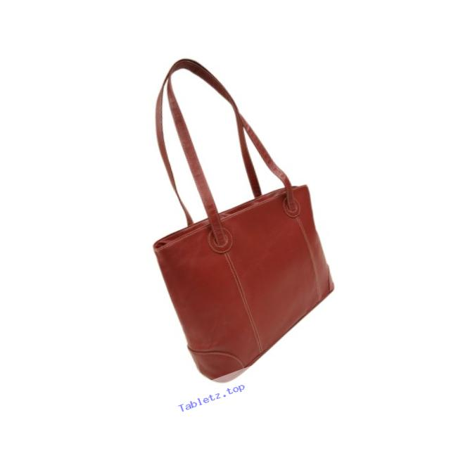 Piel Leather Ladies Computer Tote, Red, One Size