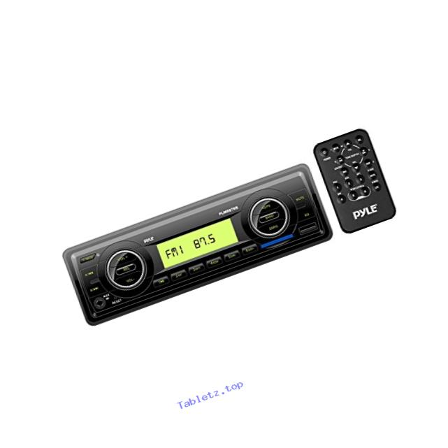 Pyle PLMR87W Marine Stereo Radio Headunit Receiver, Aux (3.5mm) MP3 Input, USB Flash & SD Card Readers, Remote Control, Single DIN (Black)