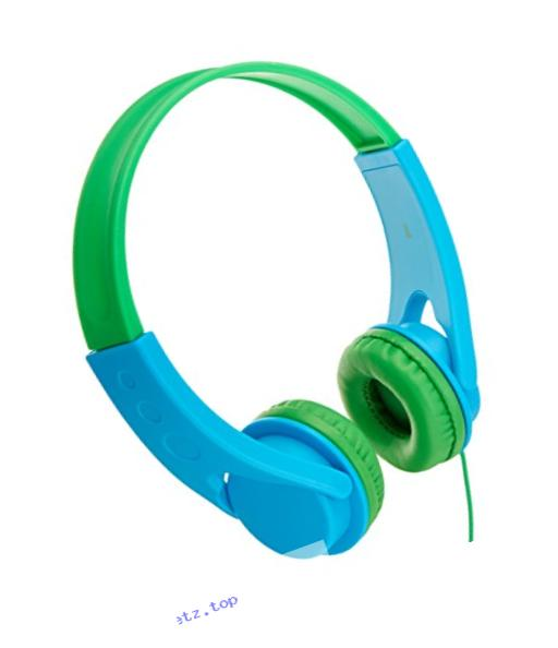 AmazonBasics Volume Limited On-Ear Headphones for Kids - Blue/Green